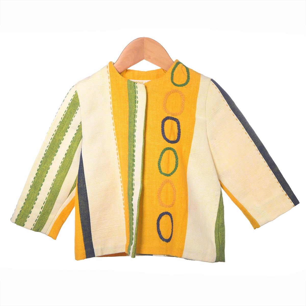 Geel/groen gestreept jasje, cirkels