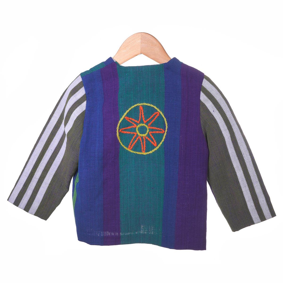 Gestreept jasje met borduursel cirkels achterzijde