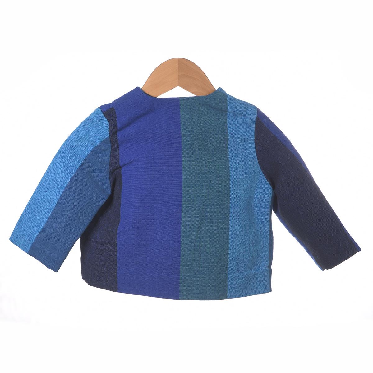 Blauwe vlakken shirt met borduursel visjes achterzijde