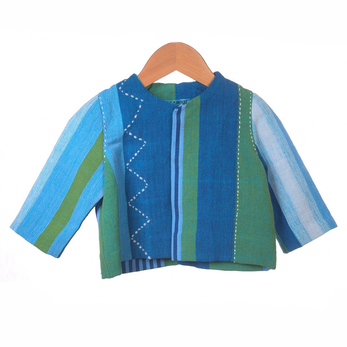 lichtblauw gestreept jasje zigzag