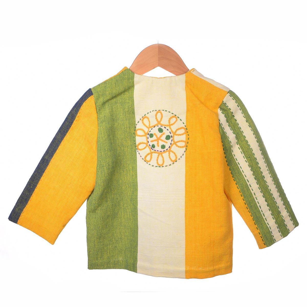 Geel/groen gestreept jasje, cirkels, achterzijde