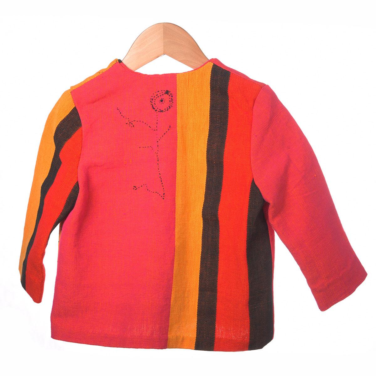 rood oranje jasje donker borduursel achterzijde