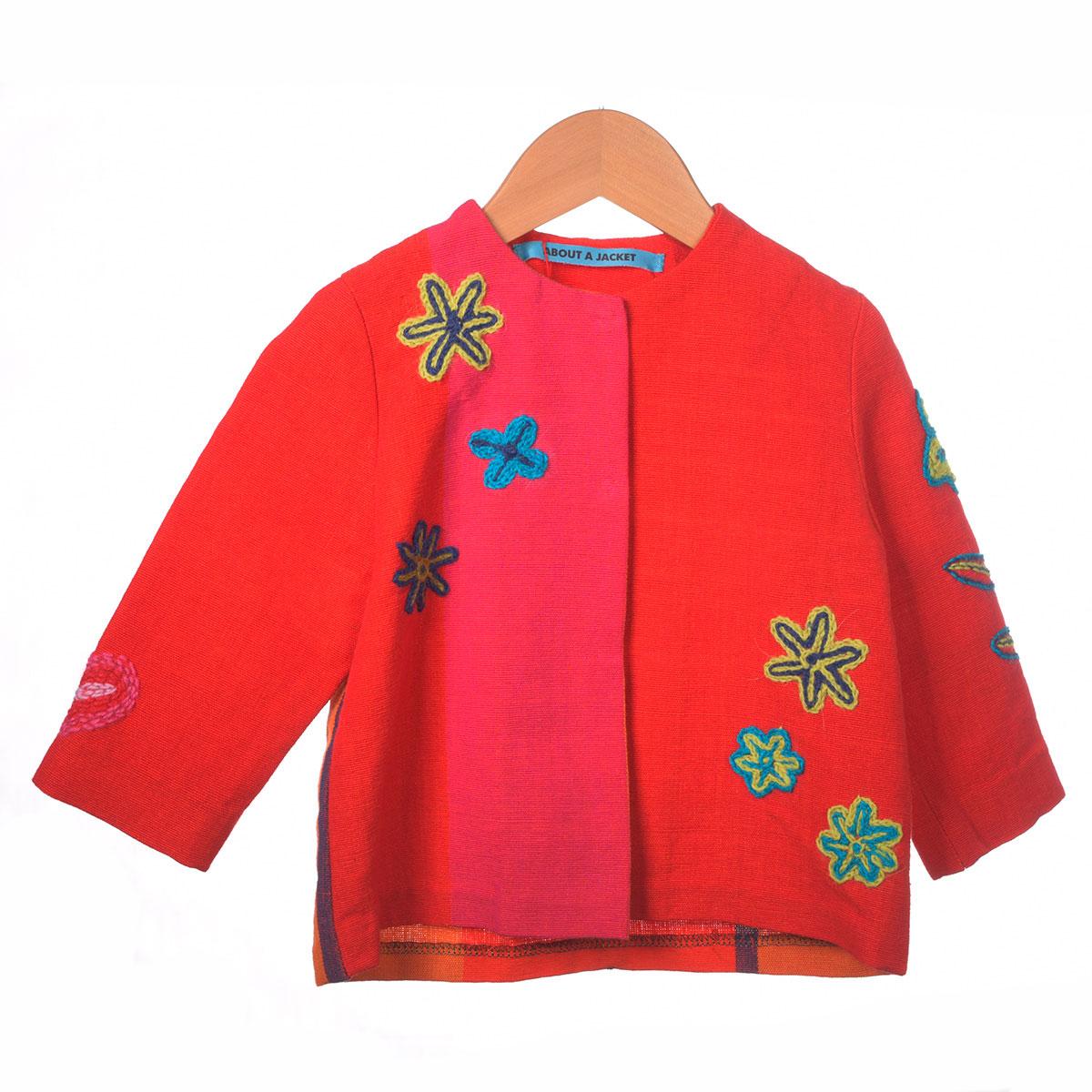 rood roze jasje bloem borduursel