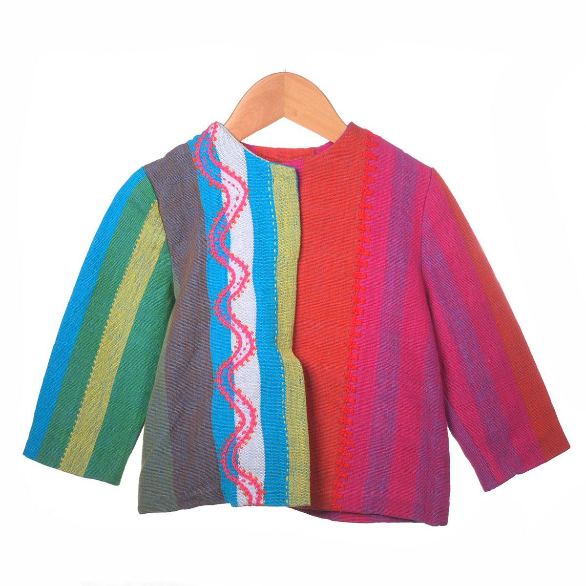 rood roze en groen blauw gestreept jasje zigzag borduursel