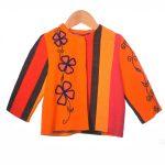 oranje rood en jasje donker bloem borduursel