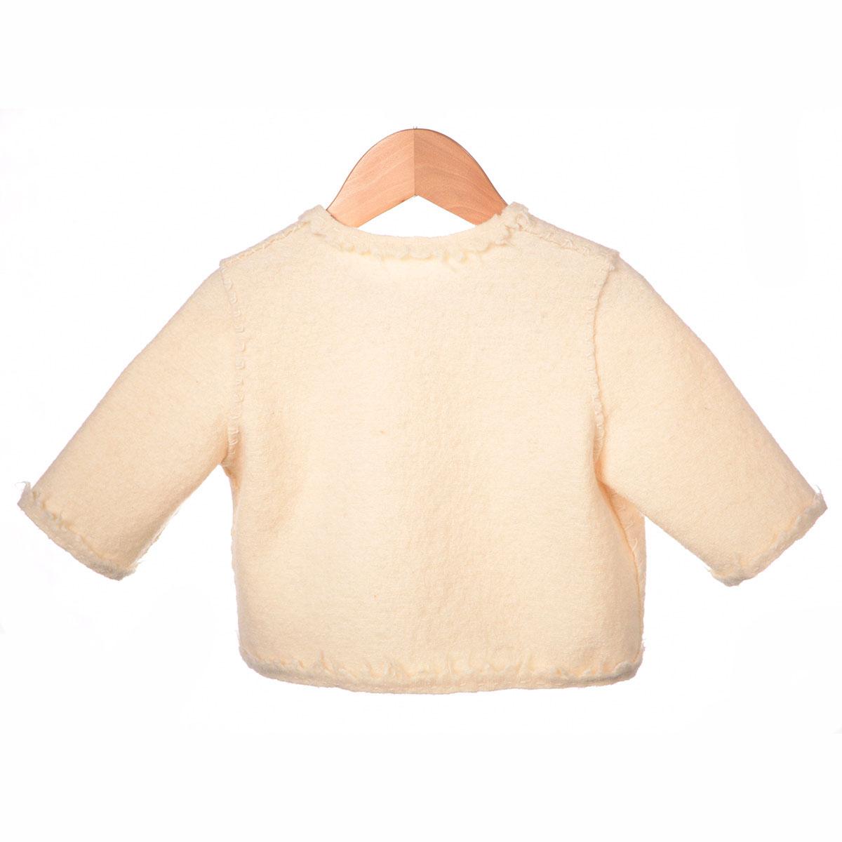 creme wit jasje, bloem borduursel achterzijde
