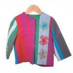 Roze groen gestreept jasje met bloem borduursel