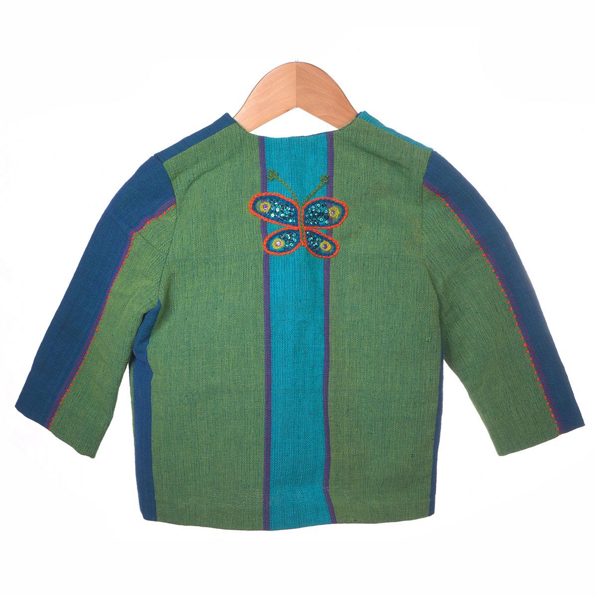 Blauw/groene vlakken met bloem borduursel achterzijde