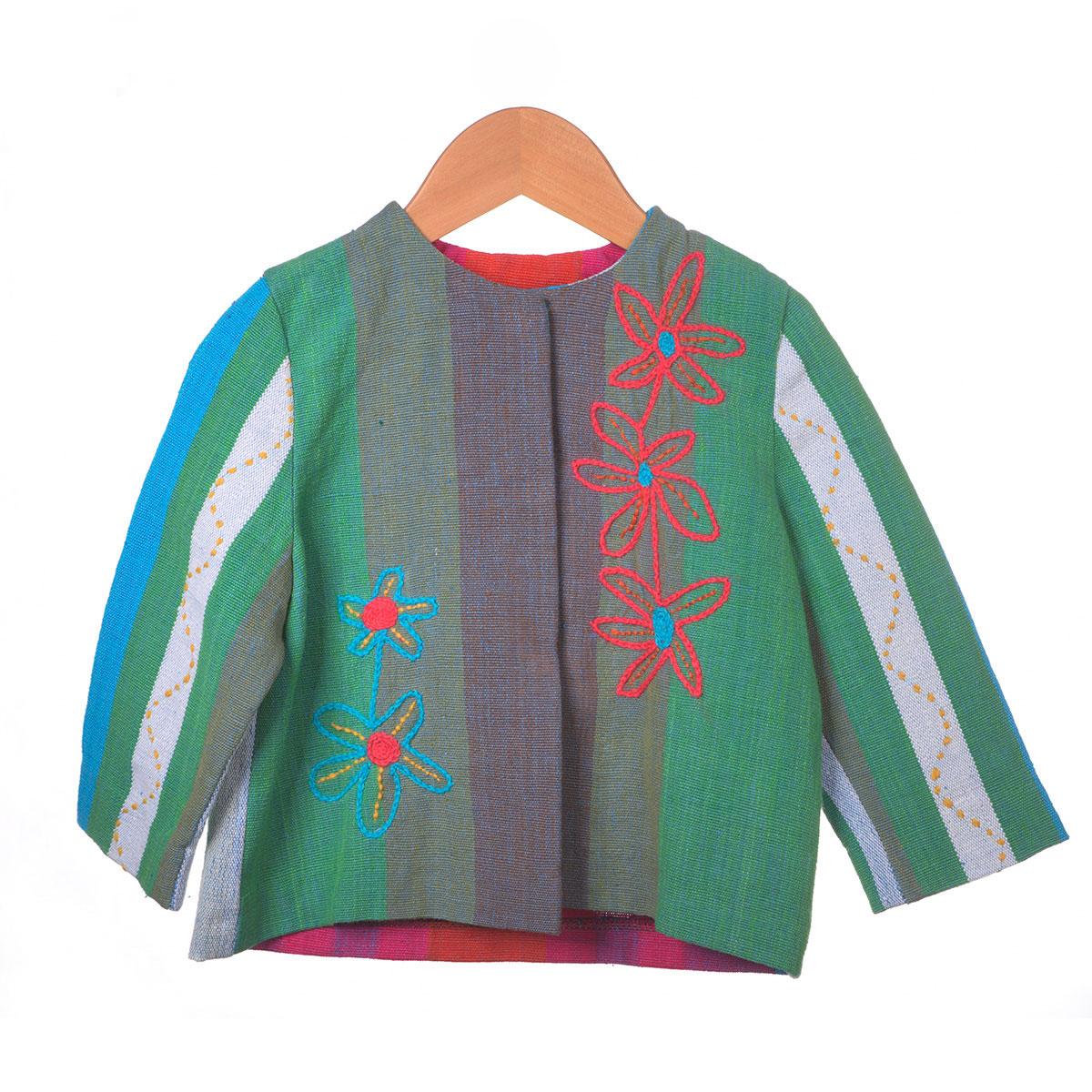 Grijs groen gestreept jasje met rode bloem borduursel