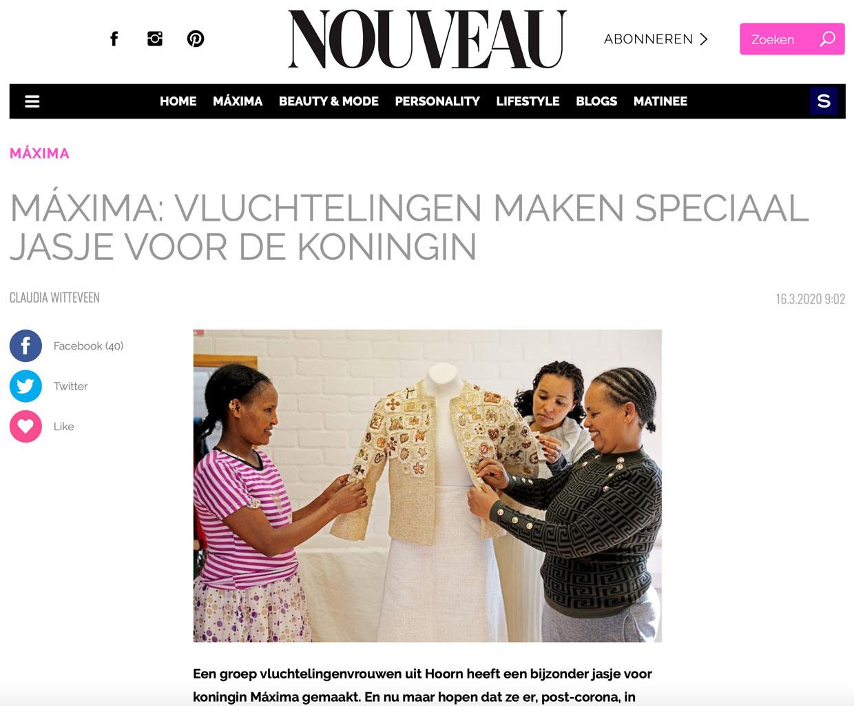 beeldschermfoto artikel Nouveau over jasje Maxima