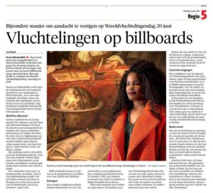 Krantenartikel Noord-Hollands dagblad Vluchtelingen op billboards
