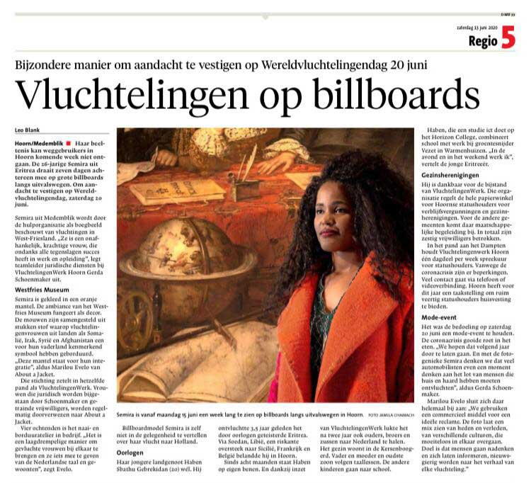 Krantenartikel Noord-Hollands dagblad Vluchtelingen op billboards